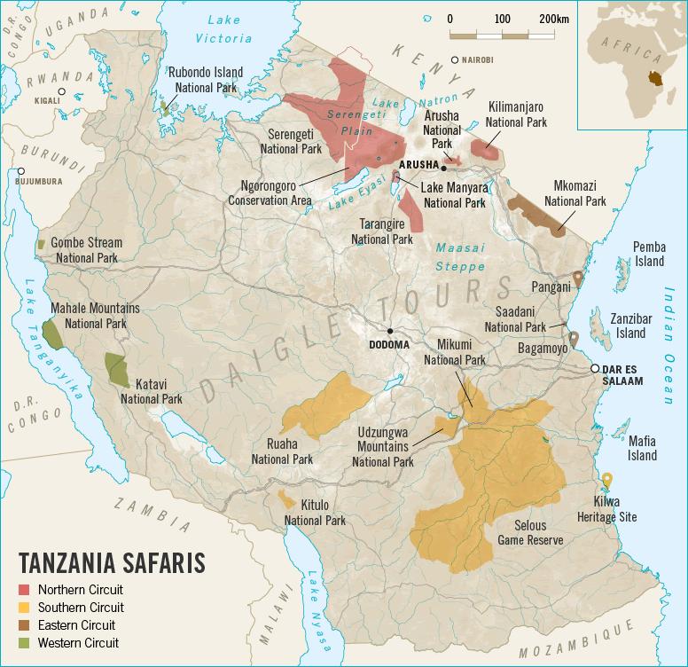 Tanzania Safari Tour Map