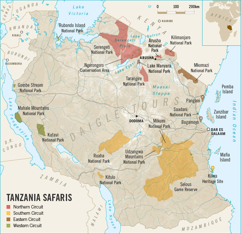 Tanzania Safari Tour Map